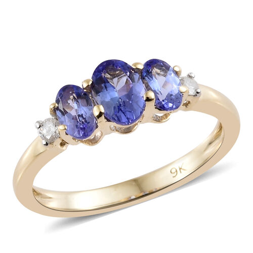 9K Yellow Gold AA Tanzanite (Ovl) Diamond Trilogy Ring