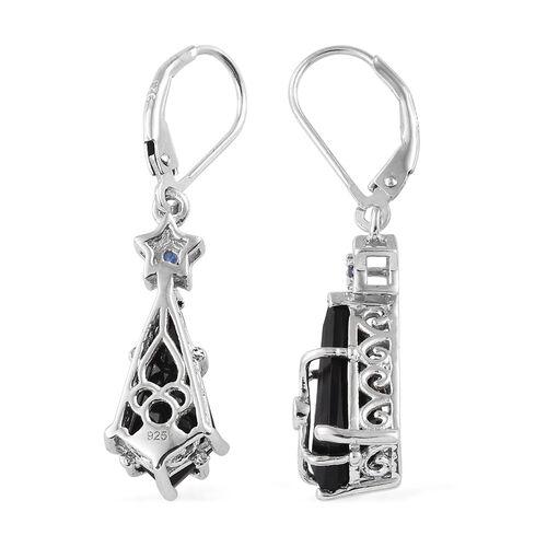 Black Tourmaline, Kanchanaburi Blue Sapphire Lever Back Earrings in Platinum Overlay Sterling Silver 7.000 Ct.