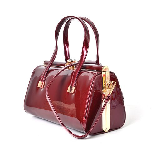 Winter Burgundy Patent Tote Bag with Simulated Diamond Embellished Clasp and Adjustable Shoulder Strap (Size 28X19X15 Cm)