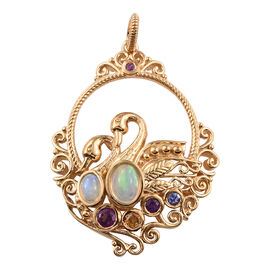 GP 1.87 Ct Ethiopian Opal and Multi Gemstones Pendant in Gold Plated Sterling Silver 10.99 Grams
