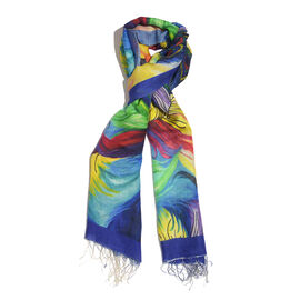 100% Katan Silk Blue, Red and Multi Colour Digital Print Peacock Feather Pattern Scarf with Tassels (Size 200x70 Cm) Finish Wt. 100Gms