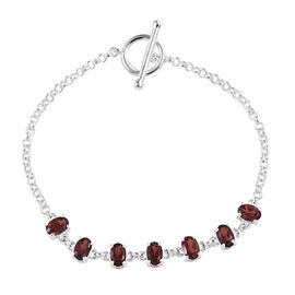 Mozambique Garnet (Ovl) Bracelet (Size 7.5 Adjustable) in Sterling Silver 3.75 Ct, Silver wt 4.70 Gm