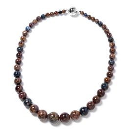 416 Carat Namibian Pietersite Beads Necklace Size 20 in Rhodium Plated Silver