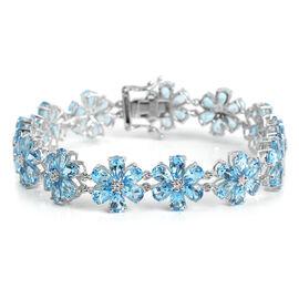 Swiss Blue Topaz (Pear) Flower Bracelet (Size 7.5) in Platinum Overlay Sterling Silver 30.600 Ct. Silver wt 15.00 Gms.