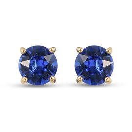 J Francis Crystal from Swarovski - Sapphire Swarovski Crystal Stud Earrings (with Push Back) in 14K