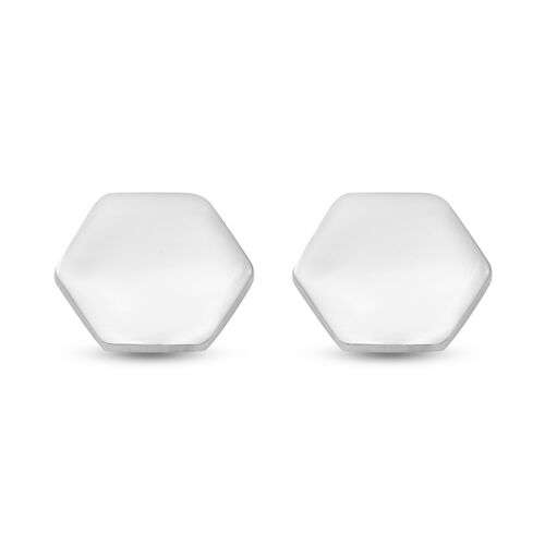 Sterling Silver Hexagon Stud Earrings (with Push Back)