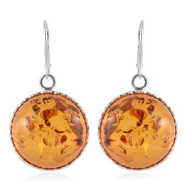 Super Auction- Baltic Amber (Rnd) Lever Back Earrings in Sterling Silver, Silver wt 14.50 Gms