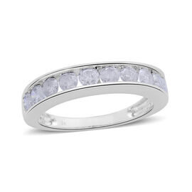 1 Carat Diamond Half Eternity Band Ring in 9K White Gold 2.70 Grams SGL Certified I3 GH