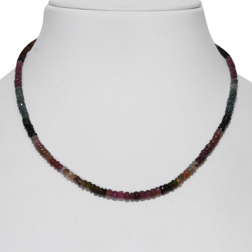 One Time Deal- Rainbow Tourmaline (Rnd) Beads Necklace (Size 18) in Rhodium Overlay Sterling Silver 70.000 Ct.
