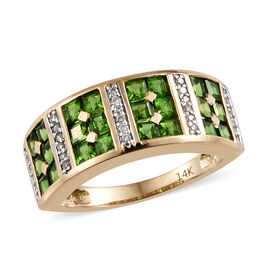 1.35 Ct AAAA Russian Diopside and Diamond Half Eternity Band Ring in 14K Gold 3.64 Grams