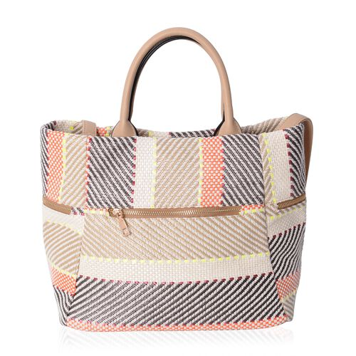 Luxe Abstract Woven Light Weight Weekend Bag with Multi Pockets and Removable Shoulder Strap (Size 40x31x25.5x19 Cm)