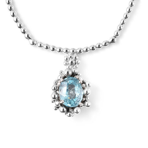 LucyQ Bubble Collection - Ratanakiri Blue Zircon Necklace (Size 16 with 4 inch extender) in Rhodium