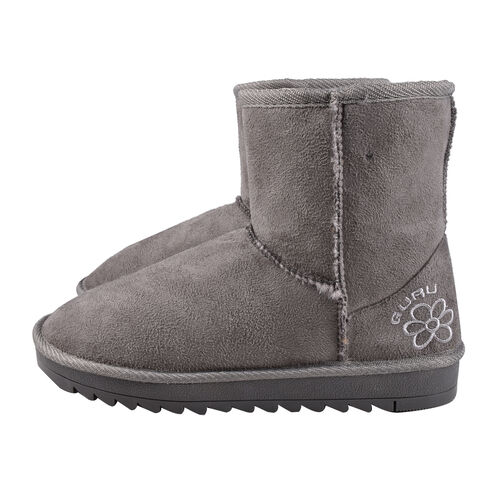 GURU Womens Winter Suede Fluffy Ankle Boots (Size 3) - Grey