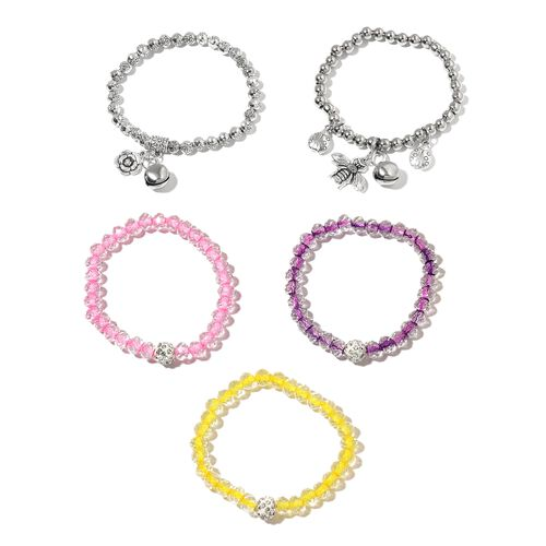 Set of 5 - Simulated White Topaz, White Austrian Crystal and Silver Balls Stretchable Bracelet.