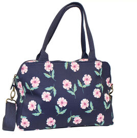 New Arrival Water Resistant Navy Tote Handbag with Pink Summer flower  (26x22x11cm)