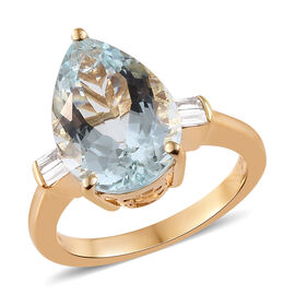ILIANA 18K Yellow Gold AAA Espirito Santo Aquamarine (Pear 16x11 mm), Diamond (Si/G-H) Ring 7.150 Ct.