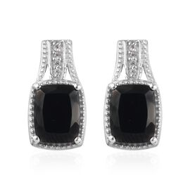 2.65 Ct Elite Shungite and Cambodian Zircon Solitaire Stud Earring in Platinum Plated Silver