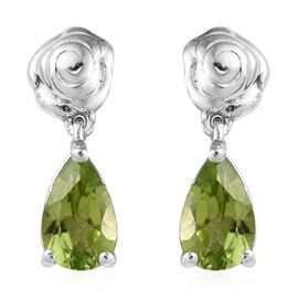 Hebei Peridot (Pear) Teardrop Earrings (with Push Back) in Platinum Overlay Sterling Silver 1.750 Ct