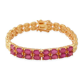 10.40 Ct African Ruby Tennis Design Bracelet in Yellow Gold Plated Silver 18.50 Grams 8 Inch