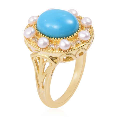 Arizona Sleeping Beauty Turquoise (Ovl 2.50 Ct), Fresh Water Pearl and Natural White Cambodian Zircon Ring in Yellow Gold Overlay Sterling Silver 3.900 Ct. Silver wt 5.40 Gms.