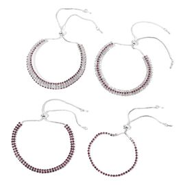 Set of 4 - Purple and White Austrian Crystal (Rnd) Bolo Bracelet (Size 6) in Silver Tone