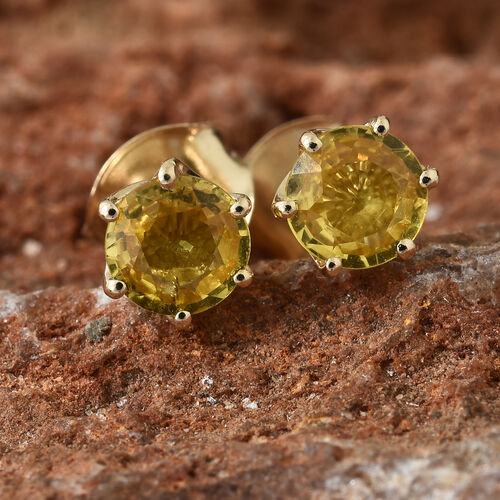 9K Yellow Gold AA Yellow Sapphire (Rnd) Stud Earrings (with Push Back) 1.250 Ct.