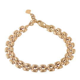 JCK Vegas Designer Inspired - 9K Y Gold Panther Link Bracelet (Size 7 with 1 Inch Extender), Gold wt