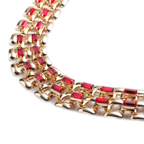 Designer Inspired- Red Crystal- Panther Link Necklace (Size 20) in Gold Tone