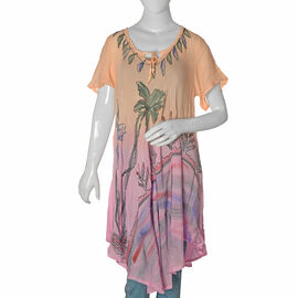 New for Spring- Peach and Pink Dip dye Tunic Top with Hand Embroidery - One size to fit most