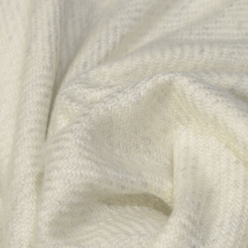 Natural Cashmere Wool Throw Blanket  (Size 260x140 Cm) -  Off-White