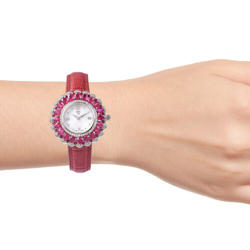 EON 1962 Swiss Movement African Ruby and Natural White Cambodian Zircon Watch with Red Genuine Leather Strap in Rhodium Overlay Sterling Silver 12.12 Ct, Silver wt 13.50 Gms