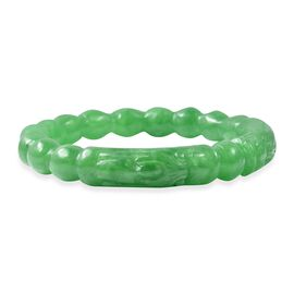260 Carat Carved Green Jade Dragon Bangle 7.25 Inch