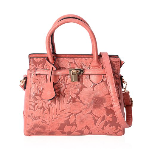 Close Out Deal Orange Flower Embossed Tote Bag with External Zipper Pocket and Removable Shoulder St
