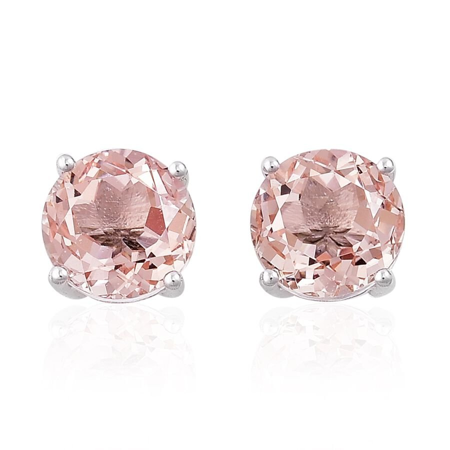 jewelry mothers sl aaa morganite round fine stud earrings gold itm natural rose day