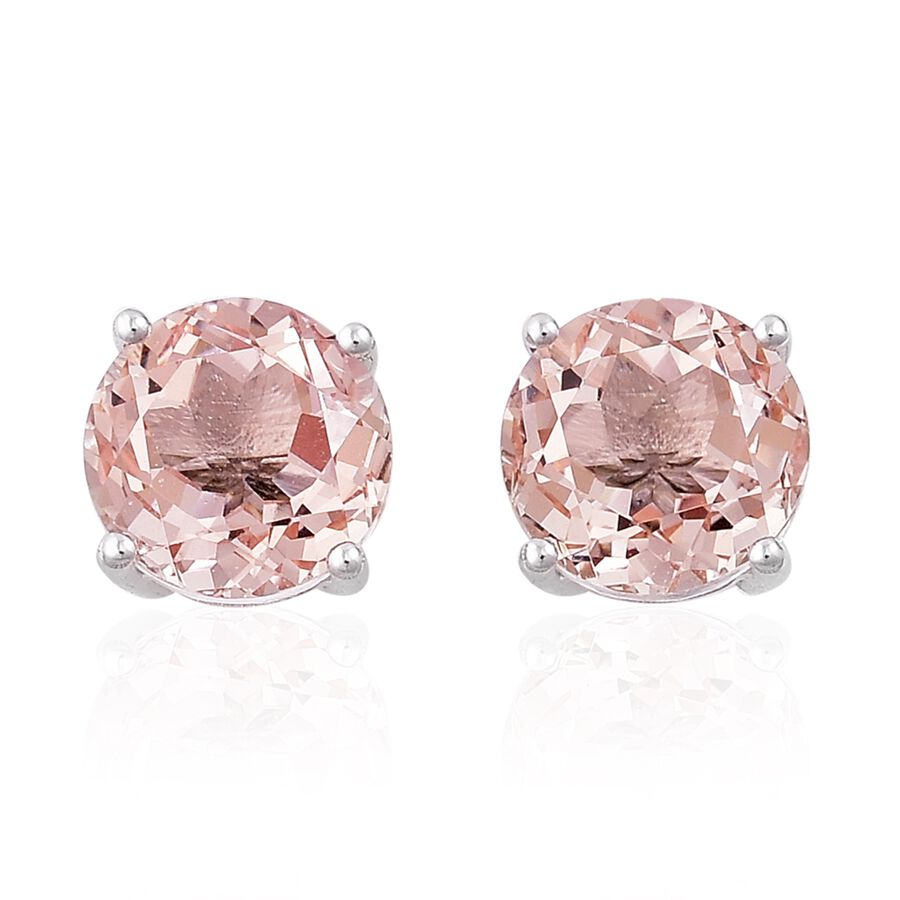 pin in cut morganite gold cts rose pink trillion stud earrings peachy