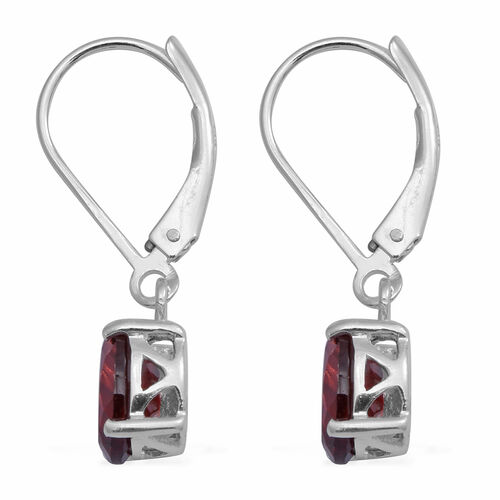 MP Red Garnet Lever Back Earrings in Rhodium Overlay Sterling Silver 2.84 Ct.