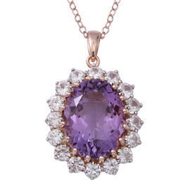 Rose De France Amethyst (Ovl 20x15 mm), Natural White Cambodian Zircon Pendant With Chain (Size 30) in Rose Gold and Platinum Overlay Sterling Silver 21.450 Ct,