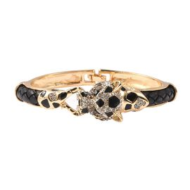 Black and White Austrian Crystal (Rnd) Enamelled Panther Bangle (Size 6.5) in Gold Tone