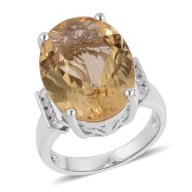 Rare Size Citrine (Ovl 20x15mm), Natural White Cambodian Zircon Ring in Platinum Overlay Sterling Si