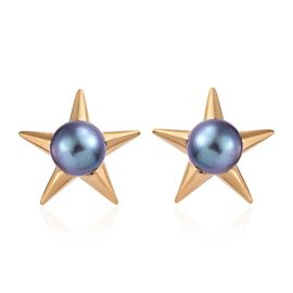 Freshwater Peacock Pearl (Rnd) Stud Earrings (with Push Back) in 14K Gold Overlay Sterling Silver