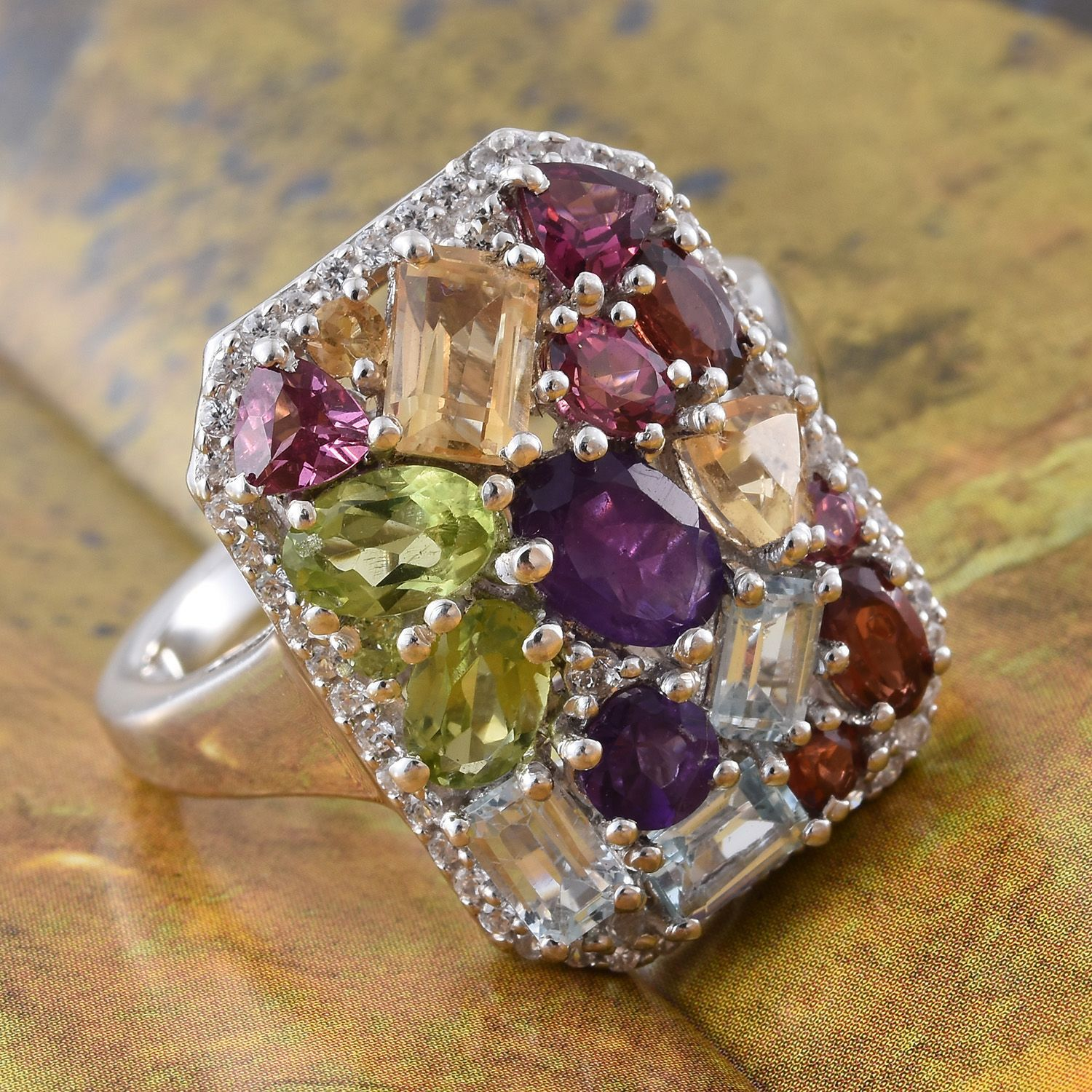 Amethyst, Sky Blue Topaz, Citrine, Peridot Ring in Platinum Over Silver 6.25 Ct