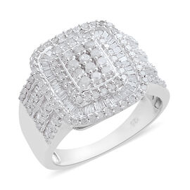 Diamond (Rnd and Bgt) Ring in Platinum Overlay Sterling Silver 1.500 Ct. Silver wt 7.21 Gms. Number of Diamonds 206
