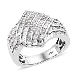 Designer Inspired- Diamond (Bgt) Ring (Size T) in Platinum Overlay Sterling Silver 1.000 Ct