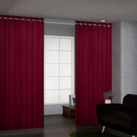 Set of 2 Blackout Curtain with 8 Metal Rings - Red