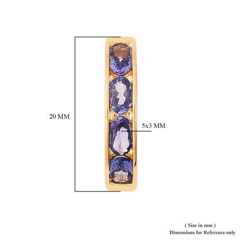 Tanzanite J Hoop Earrings in Yellow Gold Overlay Sterling Silver 2.00 Ct.