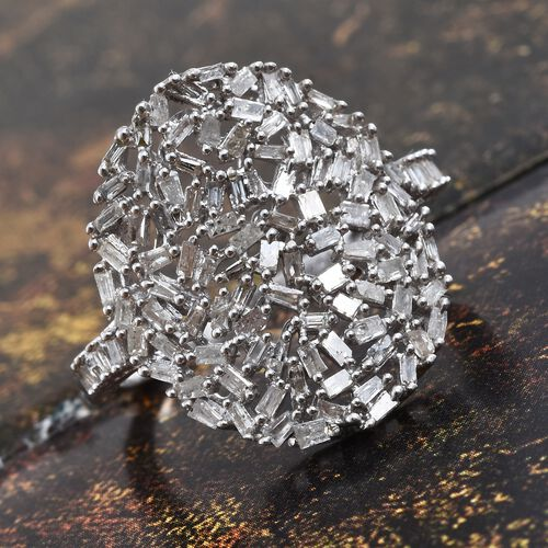GP Diamond (Bgt), Kanchanaburi Blue Sapphire Cluster Ring in Platinum Overlay Sterling Silver 0.770 Ct. Number of Diamonds 104