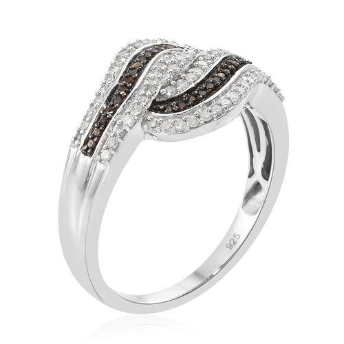 Red Diamond (Rnd), White Diamond Ring in Black Rhodium and Platinum Overlay Sterling Silver 0.500 Ct.