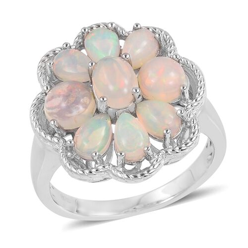 Ethiopian Welo Opal (Ovl) Flower Ring in Rhodium Plated Sterling Silver 2.910 Ct. Silver wt 6.50 Gms.