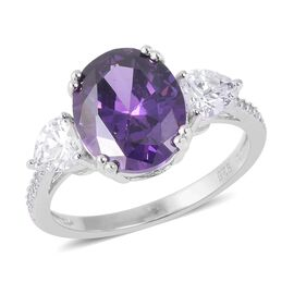 ELANZA Simulated Amethyst (Ovl), Simulated Diamond Ring in Rhodium Overlay Sterling Silver