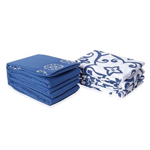 Set of 2 Blue and White Colour Double Size- 2 Fitted Sheet (190x140x30 Cm), 2 Flat Sheet (265x230 Cm) and 2 Pillow Case (75x50 Cm) in Damask and Embroidery Pattern